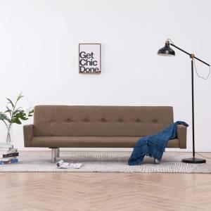 Καναπές - Κρεβάτι με Μπράτσα Καφέ από Πολυεστέρα