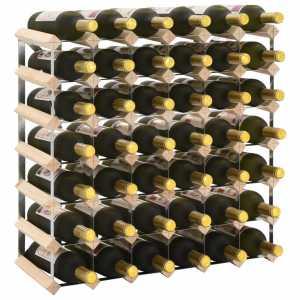 Ραφιέρα/Σταντ Κρασιών για 42 Φιάλες από Μασίφ Ξύλο Πεύκου