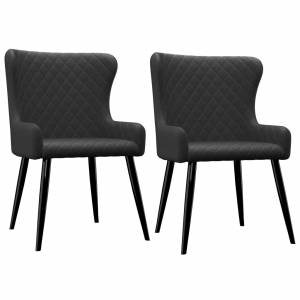 Καρέκλες Τραπεζαρίας 2 τεμ. Μαύρες Υφασμάτινες