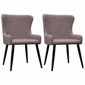 Καρέκλες Τραπεζαρίας 2 τεμ. Ροζ Βελούδινες