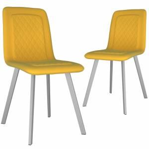Καρέκλες Τραπεζαρίας 2 τεμ. Κίτρινες Βελούδινες