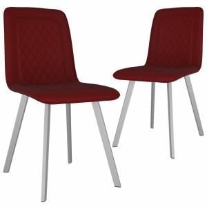 Καρέκλες Τραπεζαρίας 2 τεμ. Κόκκινες Βελούδινες