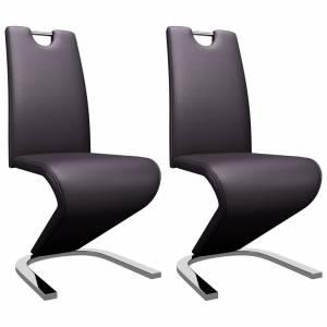 Καρέκλες Τραπεζαρίας Ζιγκ-Ζαγκ 2 τεμ. Καφέ από Συνθετικό Δέρμα