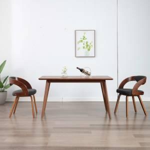 Καρέκλες Τραπεζαρίας 2 τεμ. Σκούρο Γκρι Λυγισμένο Ξύλο & Ύφασμα