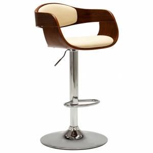 Καρέκλα Μπαρ Κρεμ από Λυγισμένο Ξύλο και Συνθετικό Δέρμα