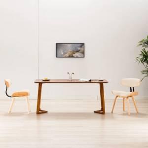 Καρέκλες Τραπεζαρίας 2 τεμ. Κρεμ Λυγισμένο Ξύλο/Συνθετικό Δέρμα