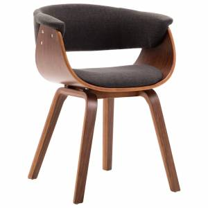 Καρέκλα Τραπεζαρίας Γκρι από Λυγισμένο Ξύλο και Ύφασμα