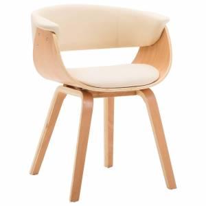 Καρέκλα Τραπεζαρίας Κρεμ από Λυγισμένο Ξύλο και Συνθετικό Δέρμα
