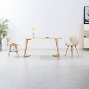 Καρέκλες Τραπεζαρίας 2 τεμ. Κρεμ Συνθετικό Δέρμα/Λυγισμένο Ξύλο