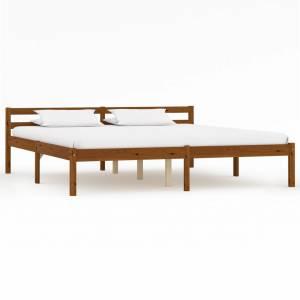 Πλαίσιο Κρεβατιού Καφέ Μελί 180 x 200 εκ. από Μασίφ Ξύλο Πεύκου