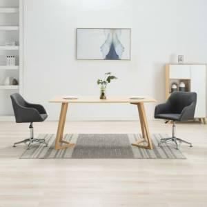 Καρέκλες Τραπεζαρίας Περιστρεφόμενες 2 τεμ Σκ. Γκρι Υφασμάτινες