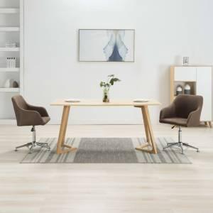 Καρέκλες Τραπεζαρίας Περιστρεφόμενες 2 τεμ. Καφέ Υφασμάτινες