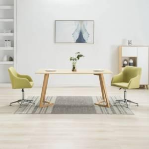 Καρέκλες Τραπεζαρίας Περιστρεφόμενες 2 τεμ Πράσινες Υφασμάτινες