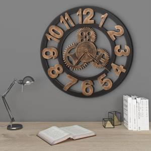 Ρολόι Τοίχου Χρυσό / Μαύρο 58 εκ. Μεταλλικό