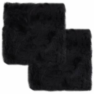 Μαξιλάρια Καρέκλας 2 τεμ. Σκούρο Γκρι 40x40 εκ. Δέρμα Προβάτου