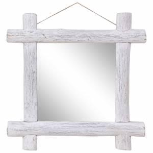 Καθρέφτης από Κορμούς Λευκός 70x70 εκ. Μασίφ Ανακυκλωμένο Ξύλο