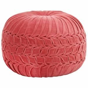 Πουφ με Smock Σχέδιο Ροζ 40 x 30 εκ. από Βαμβακερό Βελούδο