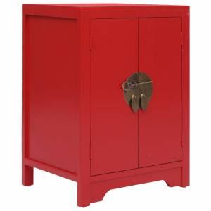 Κομοδίνο Κόκκινο 38 x 28 x 52 εκ. από Ξύλο Παυλώνιας