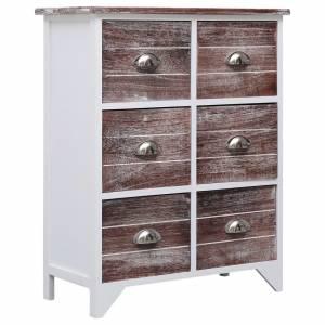 Συρταριέρα με 6 Συρτάρια Καφέ 60x30x75 εκ. από Ξύλο Παυλώνιας