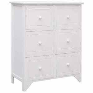 Συρταριέρα με 6 Συρτάρια Λευκή 60x30x75 εκ. από Ξύλο Παυλώνιας
