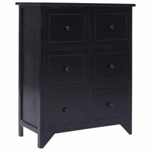 Συρταριέρα με 6 Συρτάρια Μαύρη 60x30x75 εκ. από Ξύλο Παυλώνιας