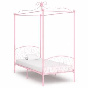 Πλαίσιο Κρεβατιού με Ουρανό Ροζ 90 x 200 εκ. Μεταλλικό