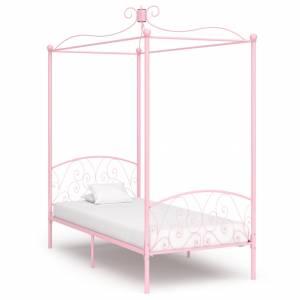 Πλαίσιο Κρεβατιού με Ουρανό Ροζ 100 x 200 εκ. Μεταλλικό