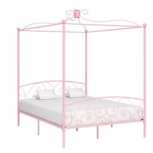 Πλαίσιο Κρεβατιού με Ουρανό Ροζ 180 x 200 εκ. Μεταλλικό