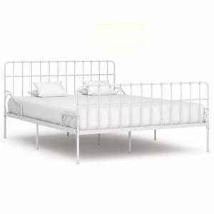 Πλαίσιο Κρεβατιού με Τελάρο Λευκό 200 x 200 εκ. Μεταλλικό