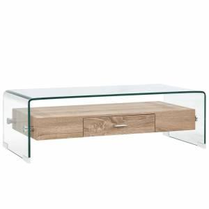 Τραπεζάκι Σαλονιού Διάφανο 98 x 45 x 31 εκ. από Ψημένο Γυαλί