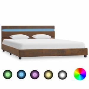 Πλαίσιο Κρεβατιού με LED Καφέ 140 x 200 εκ. Υφασμάτινο