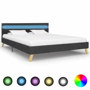 Πλαίσιο Κρεβατιού με LED Σκούρο Γκρι 120 x 200 εκ. Υφασμάτινο