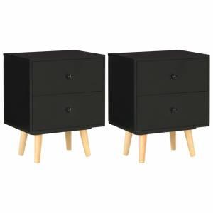 Κομοδίνα 2 τεμ. Μαύρα 40 x 30 x 50 εκ. από Μασίφ Ξύλο Πεύκου