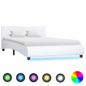 Πλαίσιο Κρεβατιού με LED Λευκό 140x200 εκ. από Συνθετικό Δέρμα