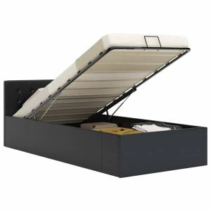Πλαίσιο Κρεβατιού με Αποθηκ. Χώρο Μαύρο 90x200 εκ. Συνθ. Δέρμα