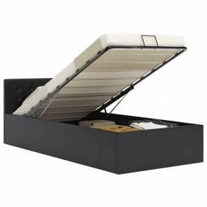 Πλαίσιο Κρεβατιού με Αποθηκ. Χώρο Μαύρο 100x200 εκ. Συνθ. Δέρμα