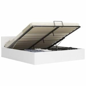 Πλαίσιο Κρεβατιού με Αποθηκ. Χώρο Λευκό 180x200 εκ. Συνθ. Δέρμα