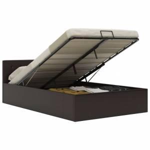 Πλαίσιο Κρεβατιού με Αποθηκ. Χώρο Γκρι 120x200 εκ. Συνθ. Δέρμα