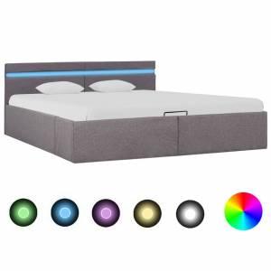 Πλαίσιο Κρεβατιού με Αποθ. Χώρο/LED Taupe 180x200 εκ. Ύφασμα
