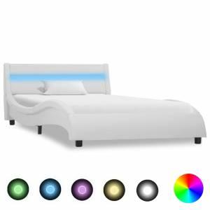 Πλαίσιο Κρεβατιού με LED Λευκό 100x200 εκ. από Συνθετικό Δέρμα