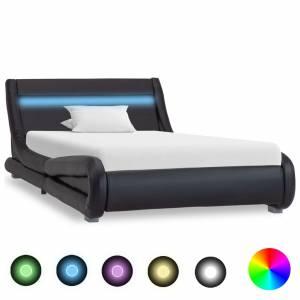 Πλαίσιο Κρεβατιού με LED Μαύρο 100x200 εκ. από Συνθετικό Δέρμα