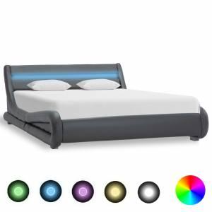 Πλαίσιο Κρεβατιού με LED Γκρι 140 x 200 εκ. από Συνθετικό Δέρμα