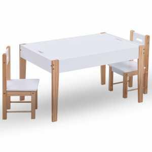 Τραπέζι Παιδικό Σετ 3 τεμ. Άσπρο/Μαύρο με Αποθ. Χώρο και Πίνακα