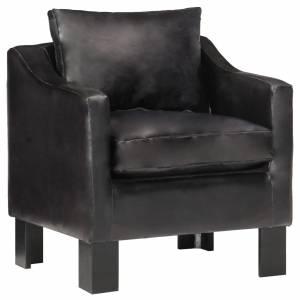 Πολυθρόνα Μπάρελ Μαύρη από Γνήσιο Δέρμα