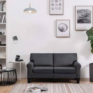 Καναπές Διθέσιος Σκούρο Γκρι Υφασμάτινος