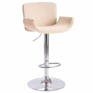 Καρέκλα Μπαρ Κρεμ από Συνθετικό Δέρμα