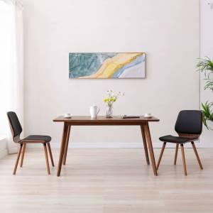Καρέκλες Τραπεζαρίας 2 τεμ. Μαύρες από Συνθετικό Δέρμα