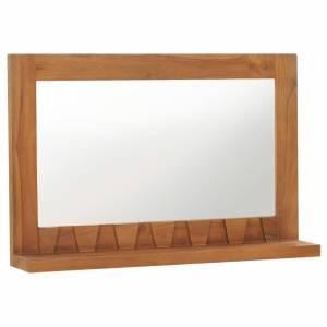 Καθρέφτης Τοίχου με Ράφι 60 x 12 x 40 εκ. από Μασίφ Ξύλο Teak