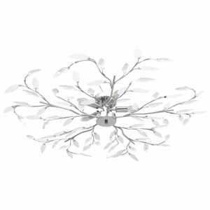 Φωτιστικό Οροφής Λευκό με Ακρυλ. Κρυστάλ. Φύλλα 5 Λαμπτήρες Ε14
