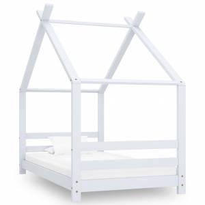 Πλαίσιο Κρεβατιού Παιδικό Λευκό 80 x 160 εκ. Μασίφ Ξύλο Πεύκου